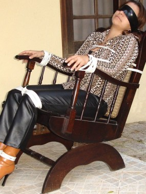 Young Girl gets blindfolded and tied up in Leather Pants
