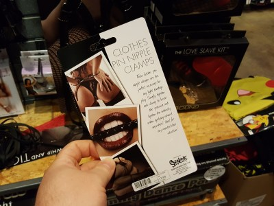 """""""Nipple clamps"""" at Spencer's (back of the package)"""