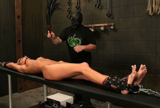 Awesome Blond Slave Restrained, Gagged and Tortured in the Dungeon