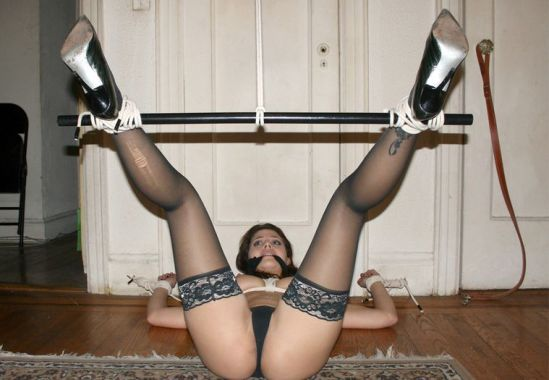 Beautiful Young Amateur Restrained, Spread and Gagged for Punishment