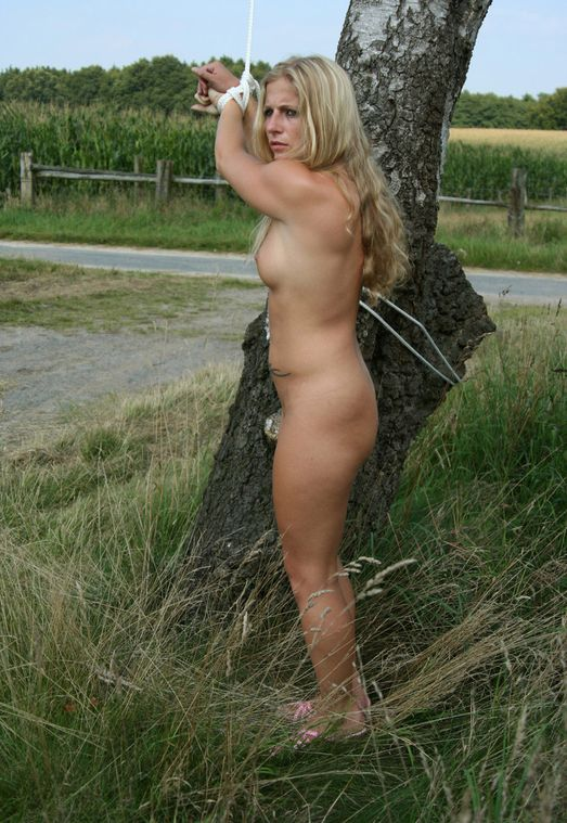 Beautiful Young Blonde Gets Stripped and Bound Outside for Discipline