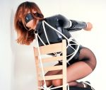 Beautiful Young Brunette in Latex and Heels Gagged and Tightly Bound