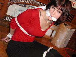 Brunette Girlfriend Bound and Gagged by Her Boyfriend for Discipline