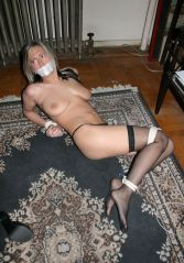 Cute Blond Amateur in Stockings Gets Tape Gagged and Tightly Bound