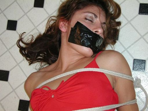 Gorgeous Amateur in High Heels Gets Tightly Bound, Hogtied and Gagged