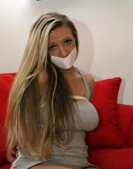 Gorgeous Blond Girlfriend Tightly Bound and Gagged by Boyfriend