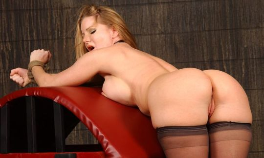 Gorgeous Blonde in Stockings Gets Collared and Bound in Dungeon