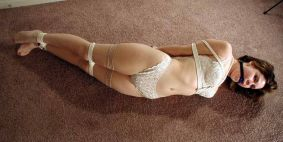 Gorgeous Brunette in White Lingerie Gagged and Tightly Bound
