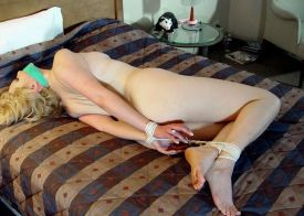 Gorgeous Mature Blonde Tightly Bound and Tape Gagged in a Hotel Room