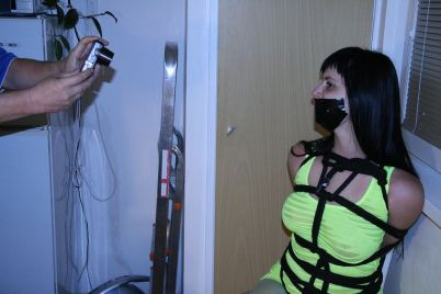 Hot Brunette Slave Gets Tightly Bound and Dominated at Home for Fun