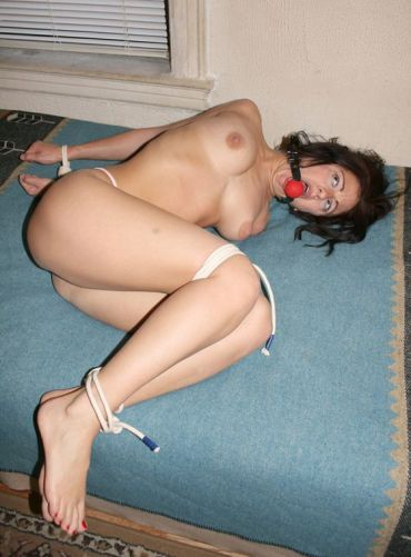 Hot Young Brunette Gets Ball Gagged and Tightly Bound for Discipline