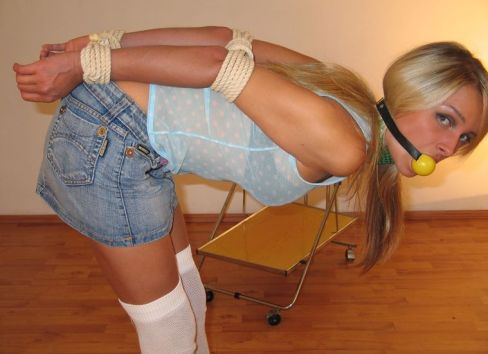 Kinky Young Girlfriend in White Stockings Gets Bound and Gagged