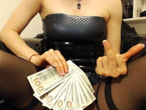 woman holding money across her vagina with middle finger up