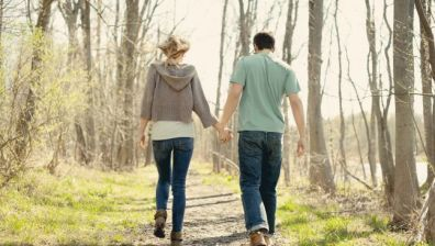 Couple on a walk through the countryside