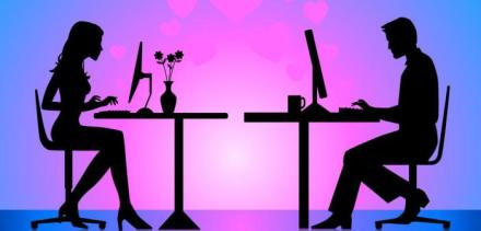 Illustration of silhouette of man and woman sitting at computers