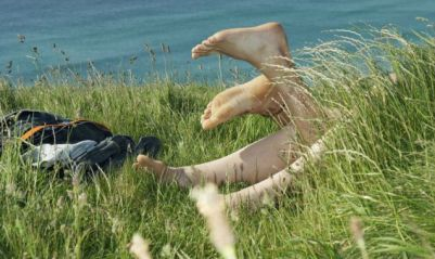 Couple having sex outdoors