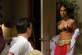 Screenshot of Rachel dressed up as Princess Leia
