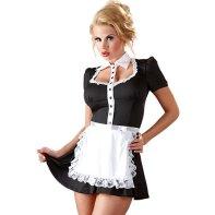 Blonde girl wearing sexy maid costume