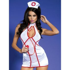 Sexy nurse costume with hat and stethoscope