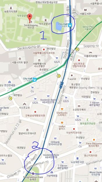 A map of toksu and namdaemun market in seoul, south korea.  This is a great tourist spot.