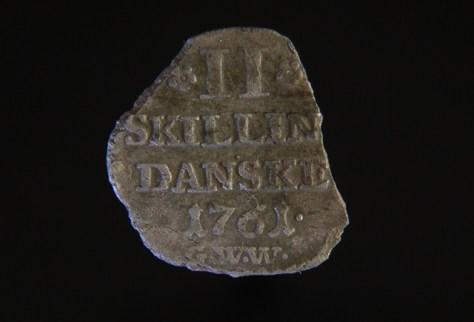 2 skilling danske 1761, sølv, Frederik IV