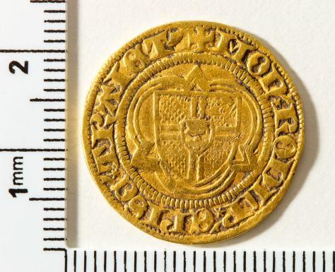 Bagside: Biskoppen af Utrechts skjold i kløverblad +MON.RODLP.EPISC.TRAIET