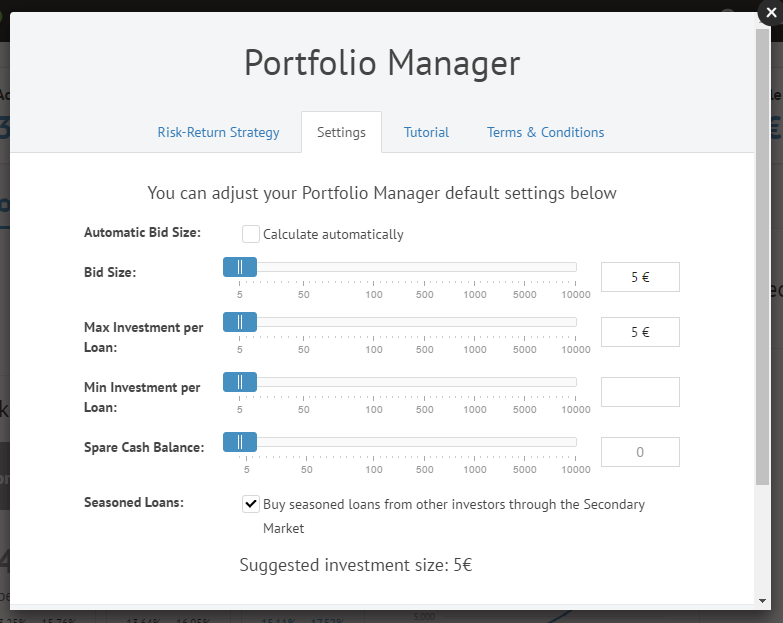 Bondora portfolio manager settings
