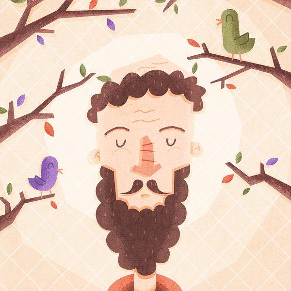 meandering monk cider label design Illustration Close-up-profile (1)