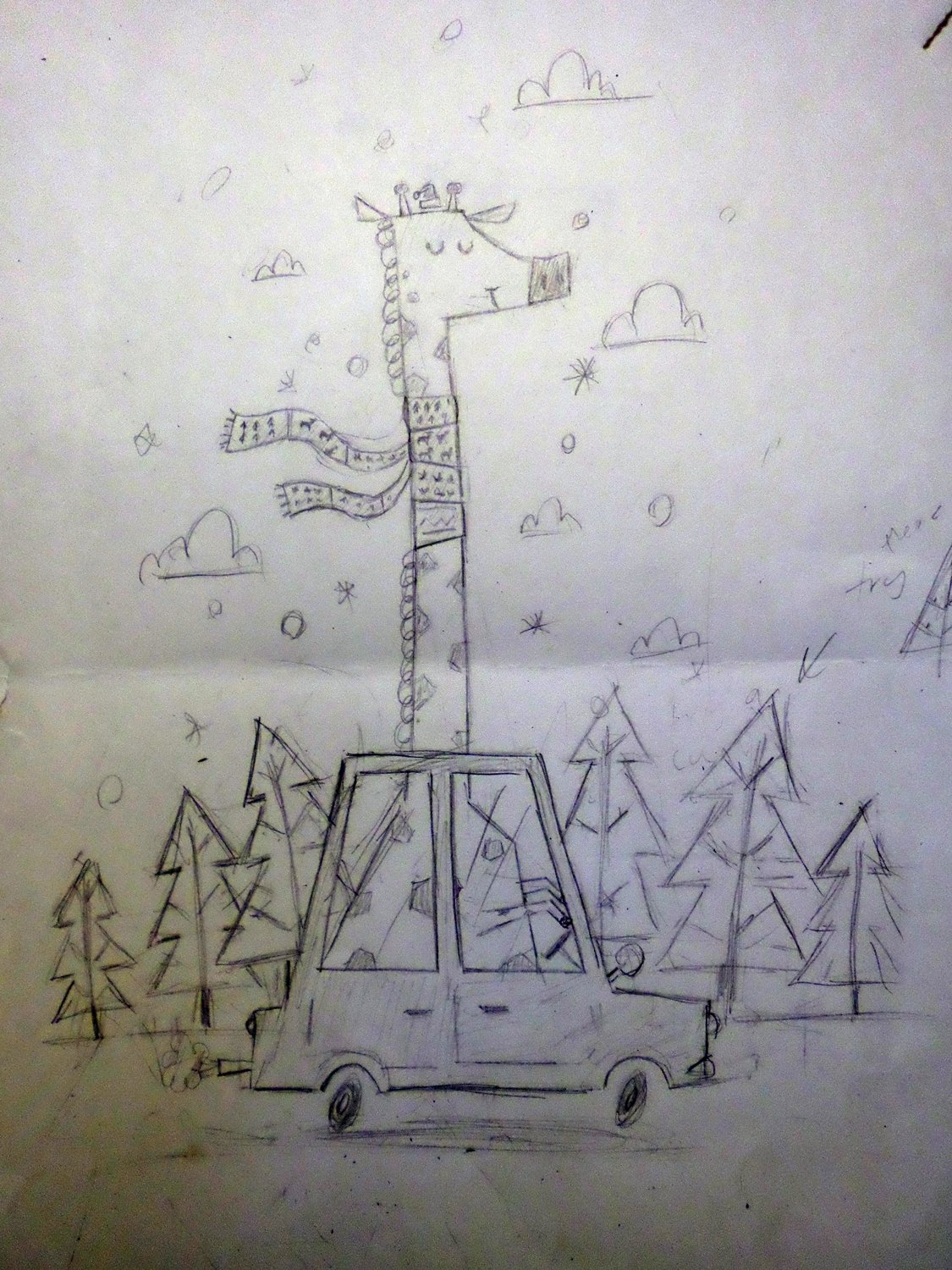 giraffing-home-for-christmas smallerer illustration Shrewsbury