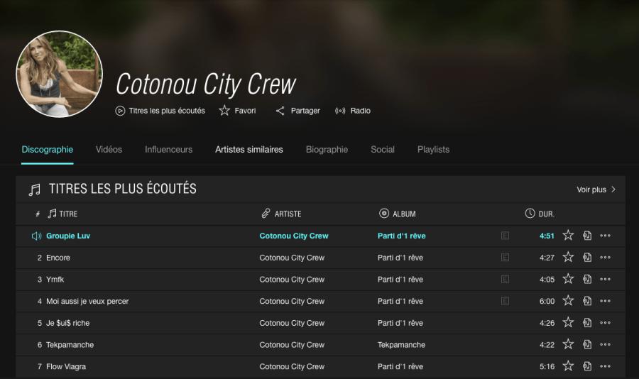 Cotonou City Crew sur Tidal