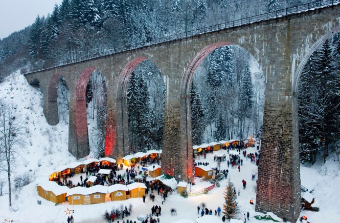 Christmas market, Ravenna Bridge, Ravenna Gorge, Ravenna gorge, Schwarzwald, Black Forest, Baden-Wurttemberg, Germany
