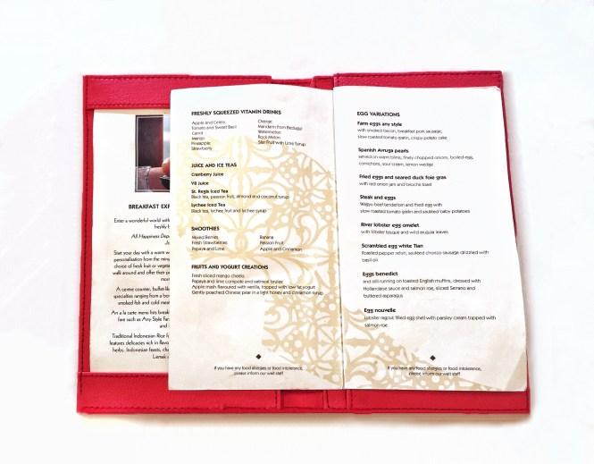 St.Regis Bali breakfast menu