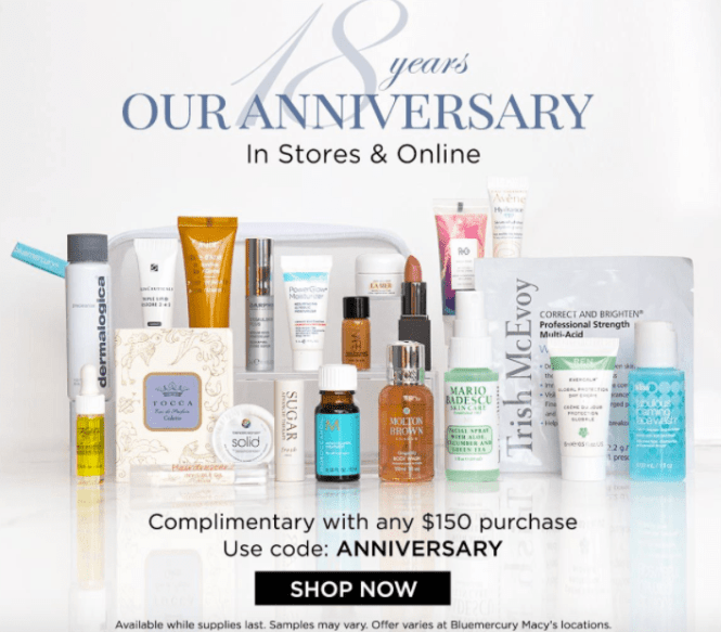 blue mercury anniversary 2017 gift with purchase