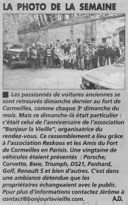 Article de la Gazette du Val d'Oise sur le rassemblement au Fort de Cormeilles et pour les 1 an de Bonjourlavieille