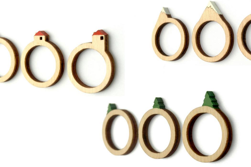 Laser Cut Wooden Landscape Ring (1)