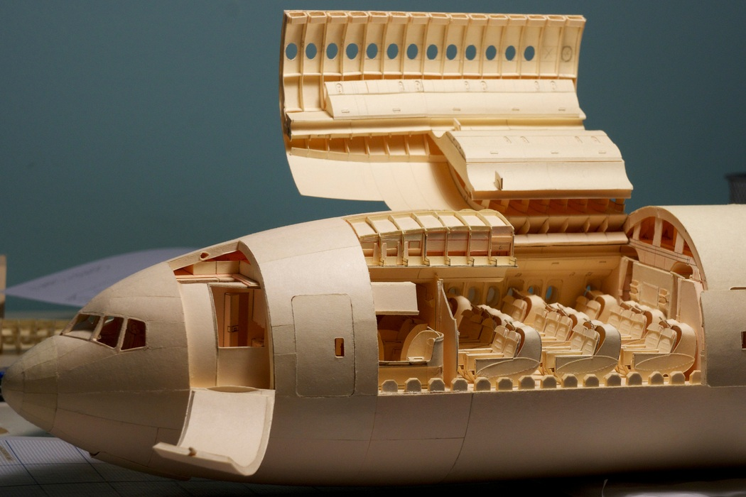 160-Scale Boeing 777 Built from Paper Manilla Folders (13)