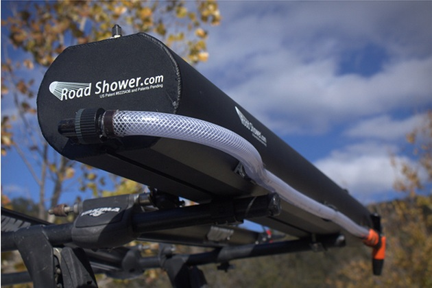 Rack Mounted Solar Powered Hot Road Shower
