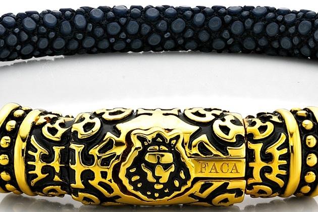 FACA 18k Gold Bracelet with Black Leather (2)