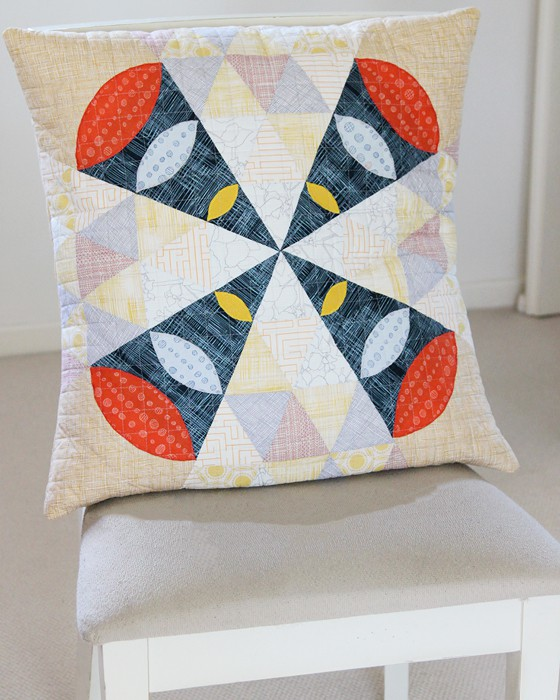 Cushion made by Kirsty of Bonjour Quilts from a Quilt Jane pattern