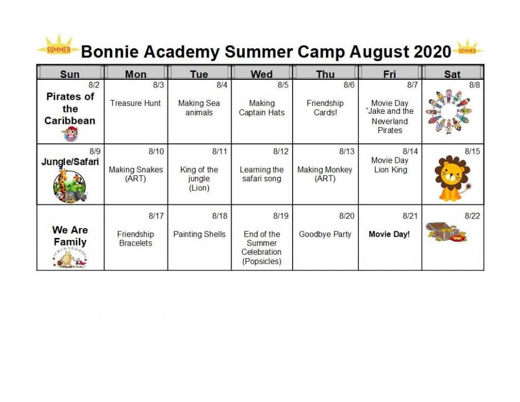 Bonnie Academy Summer Camp August