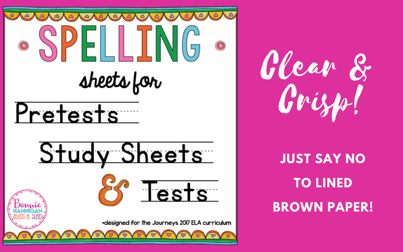 Spelling Sheets Lined Paper Resource