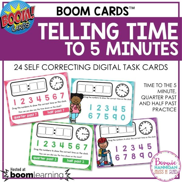 Boom Cards Telling Time to the Nearest 5 Minutes