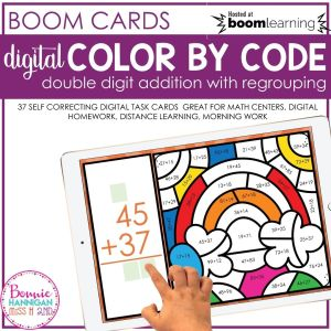 Boom Cards Double Digit Addition with Regrouping Color by Code Activity