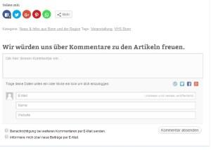 Like und Kommentarfunftion von BonnNet.de