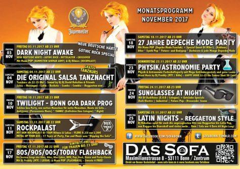 Das Sofa - Tanz- und Nachtclub in Bonn Monatsprogramm November 2017