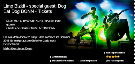 Limp Bizkit - special guest Dog Eat Dog Bonn - Tickets