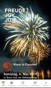 Erstmals gibt es in diesem Jahr eine Veranstaltungs-App zu Rhein in Flammen. Das komplette Bühnenprogramm in der Bonner Rheinaue und ein Geländeplan sind abrufbar, in dem die Standorte von Erste-Hilfe-Stationen, Toiletten, Zugängen, Bühnen und Getränkeständen verzeichnet sind.