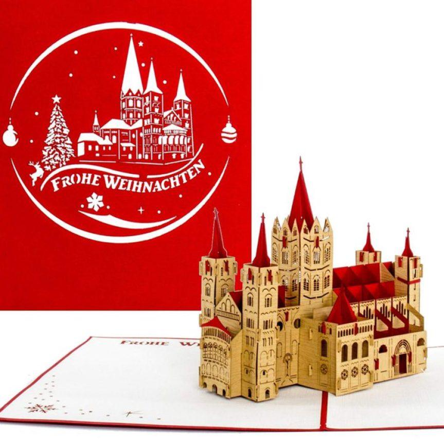 """3D Weihnachtskarte🎅""""Bonn ⛄ Bonner Münster"""" 🎄 Pop Up Karte – große Weihnachtsgrußkarte🎄als Geschenk 🎁"""