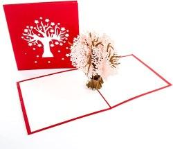 """Pop Up Karte""""Kirschblüten - Tauben auf Kirschbaum"""" 3D Geburtstagskarte & Glückwunschkarte zu Hochzeit & Verlobung - als Einladungskarte & Hochzeitskarte, Verlobungskarte & Valentinskarte"""