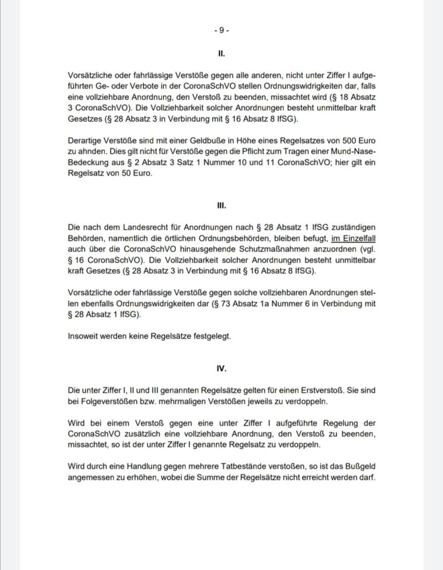 Ordnungswidrigkeiten nach dem Infektionsschutzgesetz im Zusammenhang mit der Coronaschutzverordnung (CoronaSchVO) (Stand: 1. Oktober 2020)